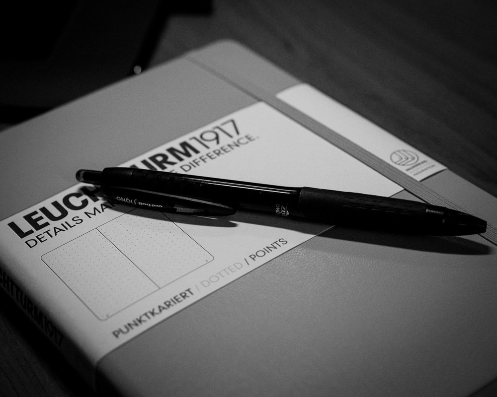 Day 54 - 365 Day B&W Photo Challenge - Anyone else use the Bullet Journal System? I though I would give it a try. - Fuji XT-3, XF35 mm f/2, Acros R Film Simulation