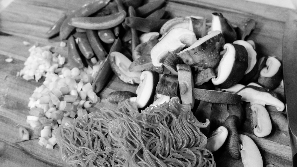 Day 62- 365 Day B&W Photo Challenge - Cleaning out the fridge I found these ingredients, snap peas, green onions, garlic, shitake mushrooms along with some gluten free ramen noodles that made for a nice Ramen bowl - Fuji XT2, XF 35mm f/2, Acros R Film Simulation