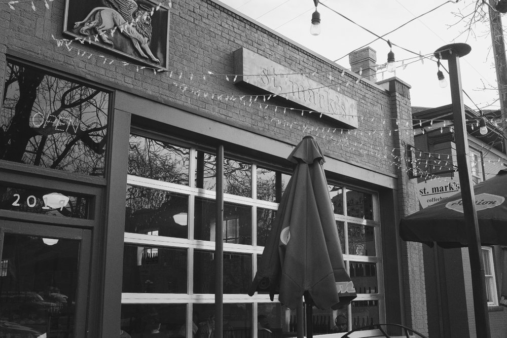 Day 74- 365 Day B&W Photo Challenge - St. Mark's Coffee House is a perfect place uptown to get a good cup of coffee and they have a wonderful Veggie Pannini.  - Fuji X100F, Acros R Film Simulation, edited in VSCO with B3 Film Simulation