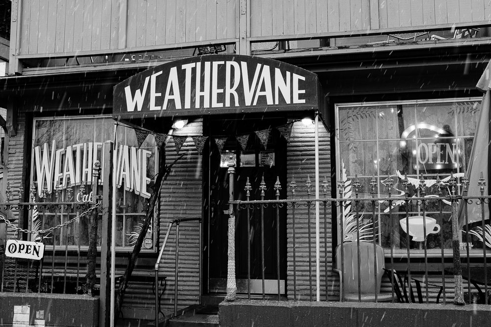 Day 75- 365 Day B&W Photo Challenge - The Weathervane Coffee Shop during the snow storm in Denver. - Fuji X100F, Acros R Film Simulation,
