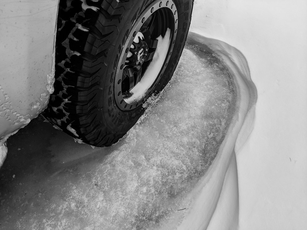 Day 76- 365 Day B&W Photo Challenge - The tire of the 4Runner was frozen in ice this morning from the Bomb Cyclone storm - Google Pixel 3, VSCO B3 and Lightroom Mobile