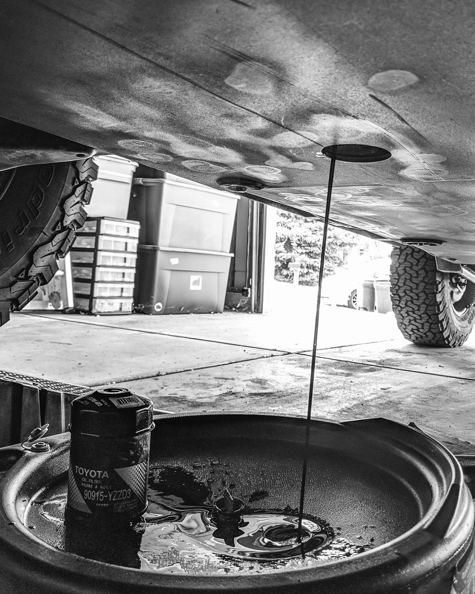 Day 82- 365 Day B&W Photo Challenge - Oil Change on the 4Runner. Google Pixel 3, VSCO Film Tri-X400 Film Simulation