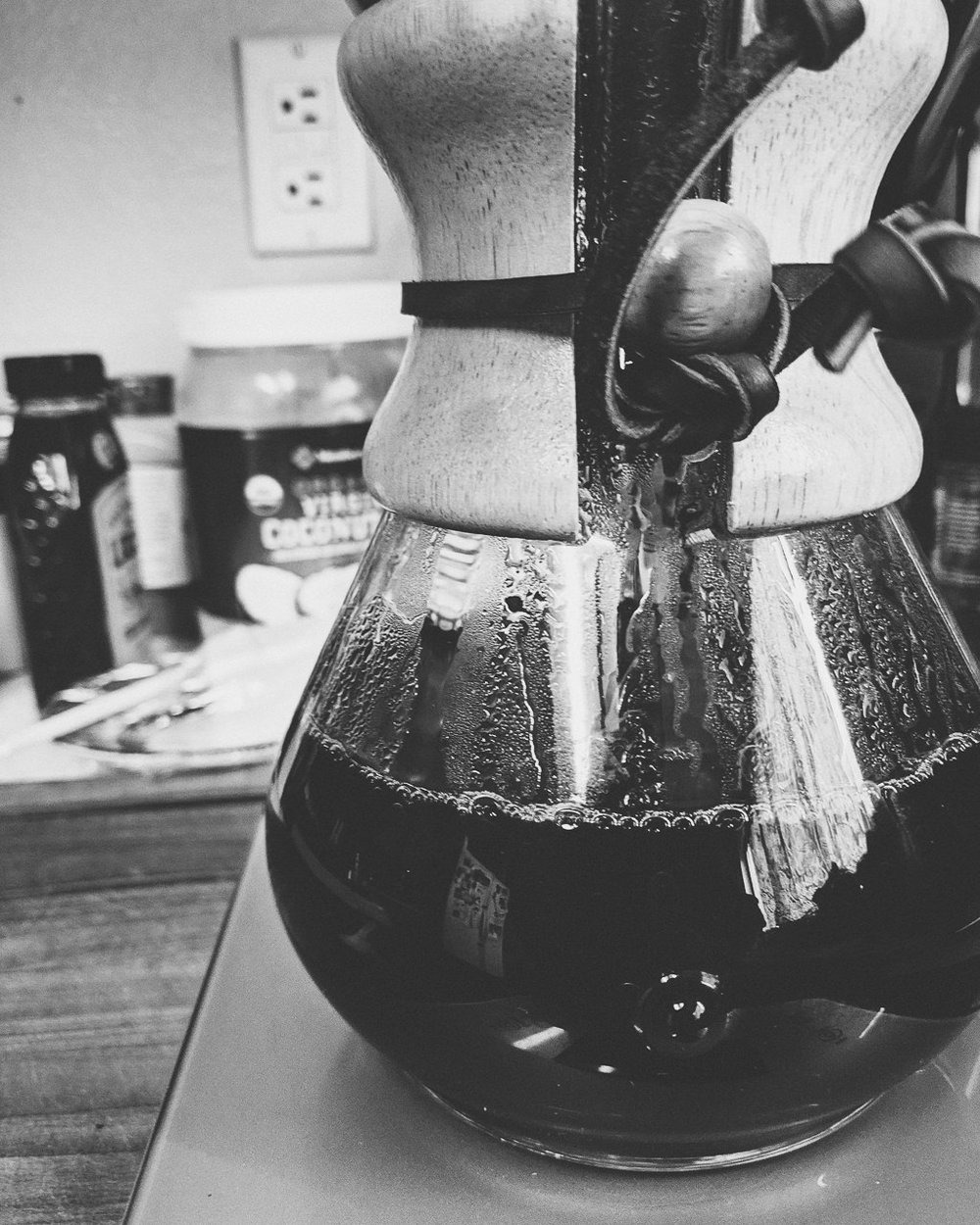 Day 90- 365 Day B&W Photo Challenge - Chemex Pour Over is ready for pouring - Google Pixel 3, Moment Tele 58mm lens, VSCO with x3 preset