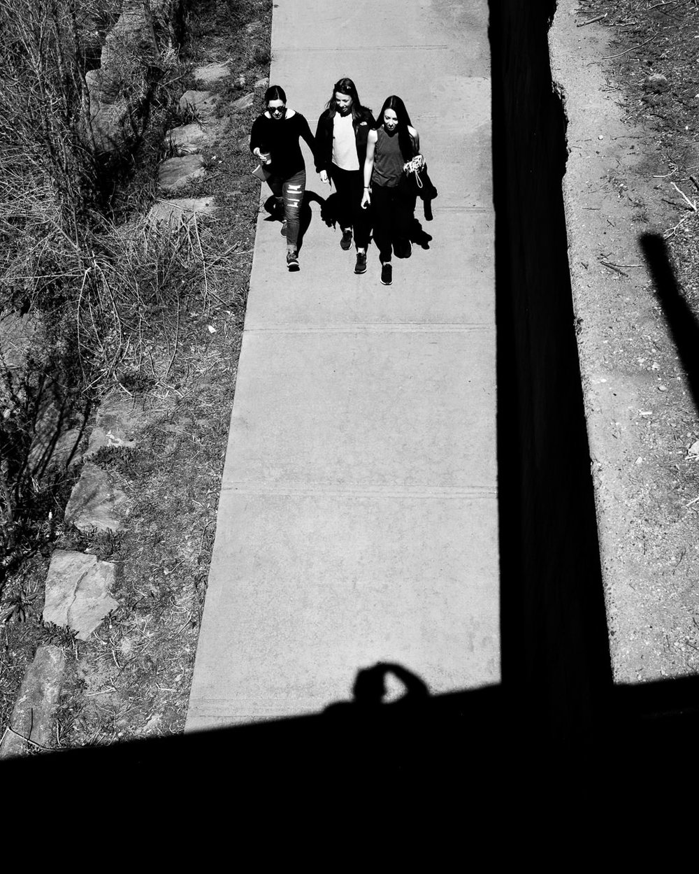 Day 100- 365 Day B&W Photo Challenge - Captured some girls walking along the Cherry Creek Trail from an overhead bridge as you can see my shadow along the walkway. - Fuji X100F., Acros R Film Preset