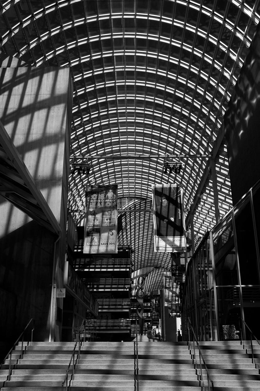 Day 102- 365 Day B&W Photo Challenge - Criss Cross Lines of the Denver Center for the Performing Arts - Fuji X100F., Acros R Film Preset
