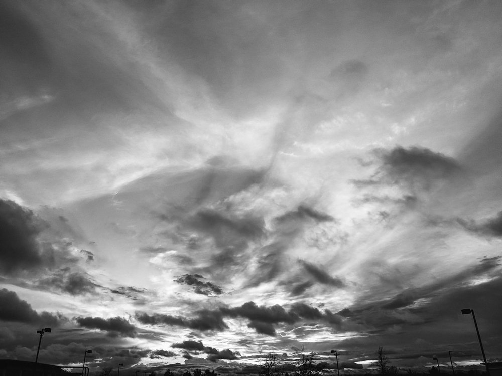 Day 118- 365 Day B&W Photo Challenge - Dramatic Spring Sunset in Denver - Google Pixel 3, VSCO Kodak Tri-X 400 Film Simulation