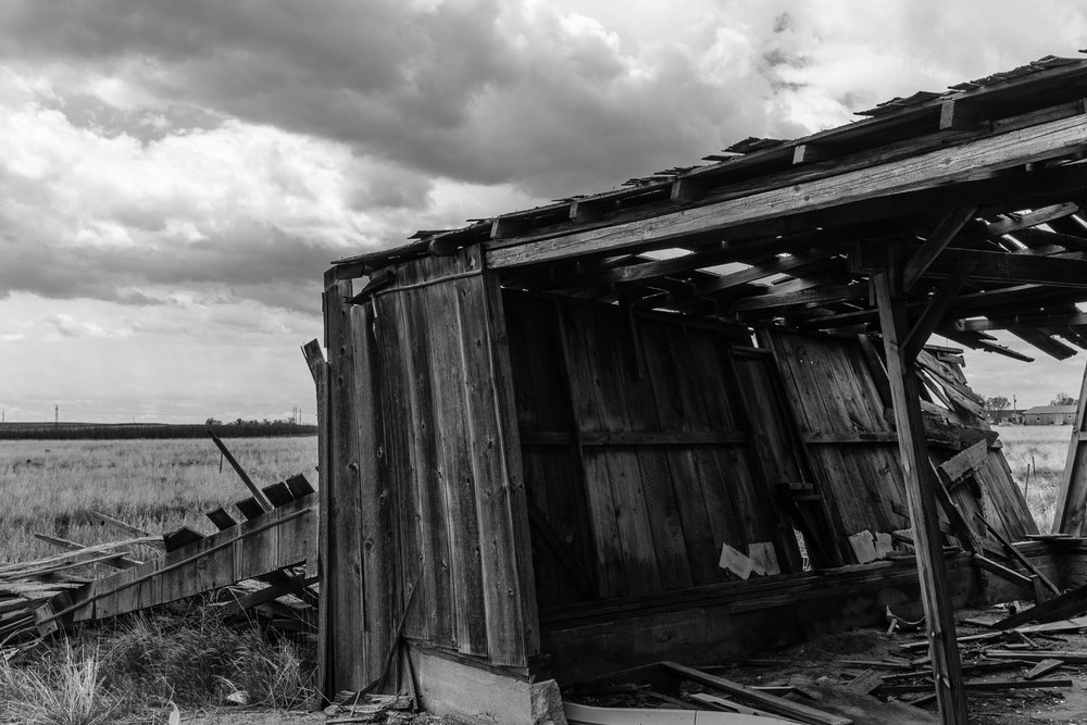 Day 134- 365 Day B&W Photo Challenge - Remains of the blacksmith shop in the ghost town of Dearfield, Colorado - Fuji X100F, Acros R Film Simulation