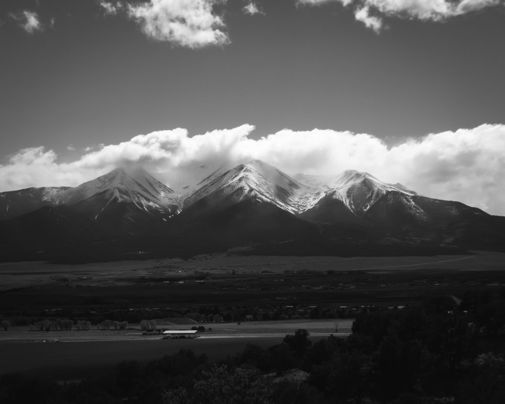 Day 139- 365 Day B&W Photo Challenge - Views of Mt. Princeton, one of Colorado's 14K Ft. mountains. - Google Pixel 3, Moment Tele Lens, VSCO Tri-X400 Film Simulation