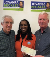 Hank Abrons and Dan Hodges present Single Payer PAC contribution to  Jovanka Beckles , candidate for Assembly in District 15.