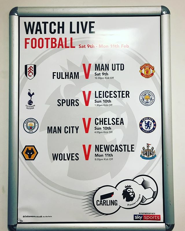 🔜 Who's joining us for #mancity v #chelsea ⚽️🍺 Our big screens are perfect to watch the action! #livesports #premierleague #football #sundayfunday #skysports #carling