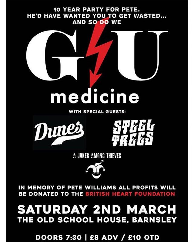 Tonight! ⚡️🔜 Join us for GU Medicine | @dunesncl | @steeltreesband & @a_joker_among_thieves 🔥🙌 Doors open 7.30pm with all the profits going to the @the_bhf ❤️ See you soon! #barnsley #barnsleyisbrill #livemusic #saturdaynight #gig #charity #britishheartfoundation