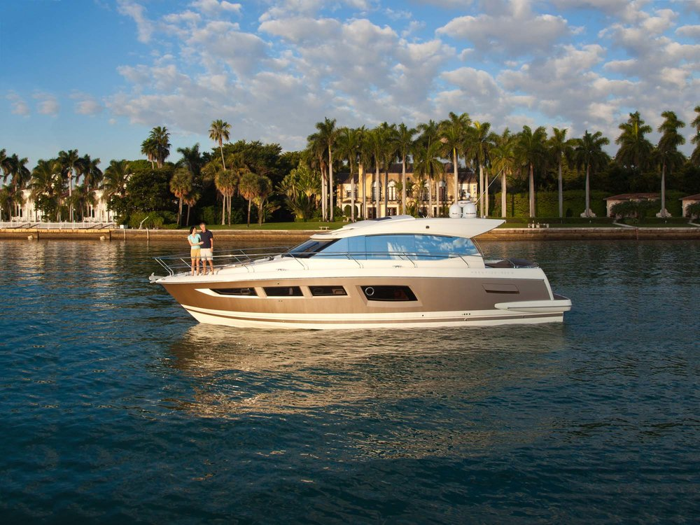 "2017 Prestige 500 S - The new Prestige 500 S lies perfectly in the philosophy of the world of the Prestige: ""clear"" design; good sea-keeping qualities; simple, elegant style; very large living space. In addition, the Prestige 500 S offers a very special consideration unveiling a new type of layout: the concept of an ""owner's suite"" on a boat of under 50 feet. Already unique in its market, the Prestige 500 S offers the comfort of much bigger boats in less than 50'. Courtesy of Sundance Yachts & Marinas."