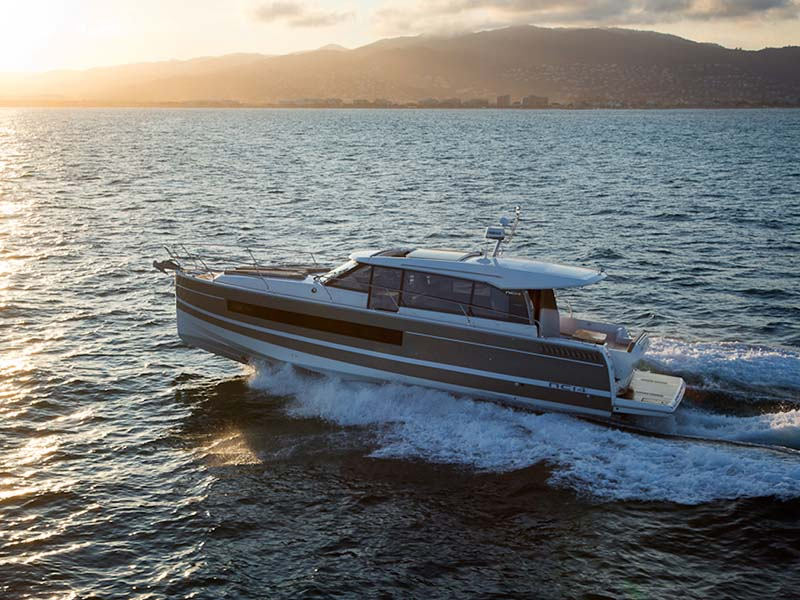 """2017 Jeanneau NC 14   - Elegance, Luxury, Comfort. The success of the new NC line has made an impact in the world of Jeanneau. The original driving spirit behind the concept, """"an apartment on the water, with a terrace and a sea view, has been perfectly distilled into the NC 9 and NC 11, resulting in real enthusiasm for these """"new"""" boats. On the heels of this success, Jeanneau is bringing the concept to the new NC 14, aboard which luxurious elegance and comfort are matched by innovation.Courtesy of Sundance Yachts & Marinas."""