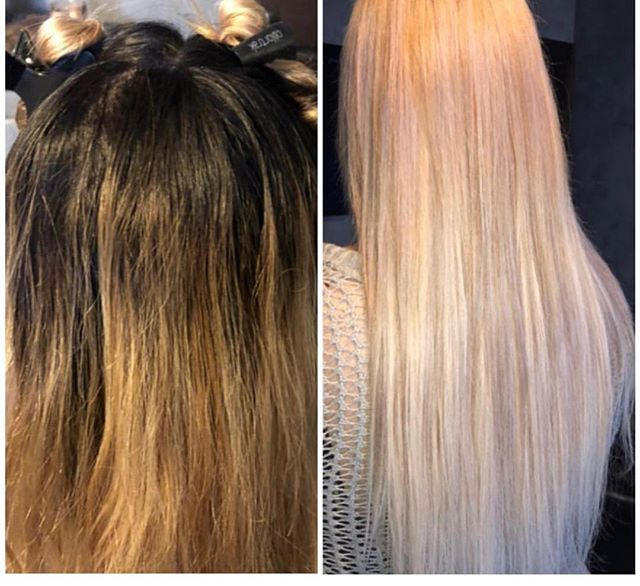 Before & After type of Monday ❗️❕ __________________________________ __________________________ Stylist @pattysees  #colorgoddess #blondehair #longhairlove