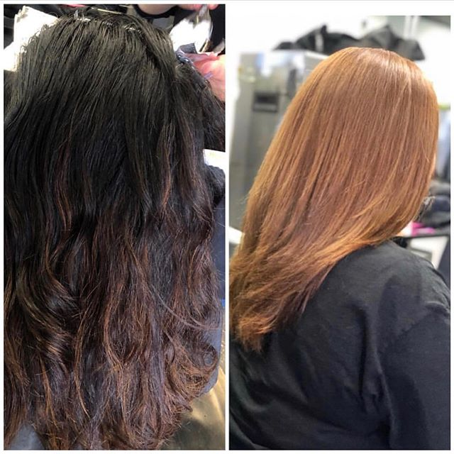 •Color correction ‼️ First step • _________________________________ ____________________________ Stylist @pattysees  #colorcorrection #haircolor #copperhair