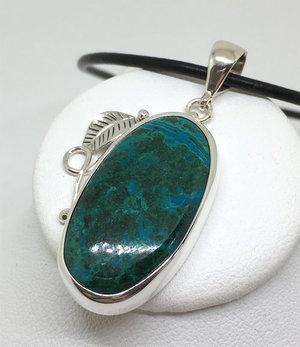 Beautiful blue-green chrysocolla pendant