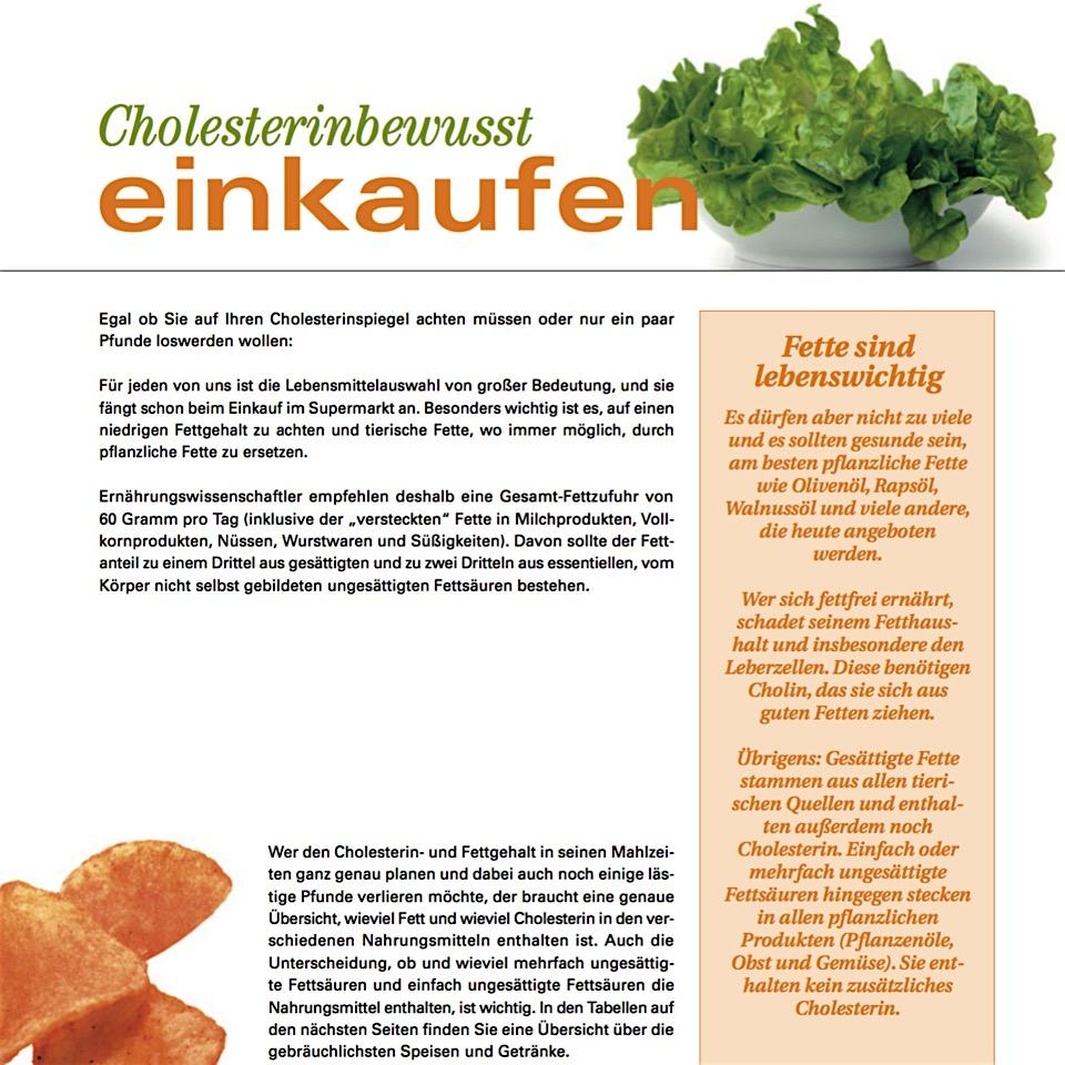 cholesterin-bewußt einkaufen -