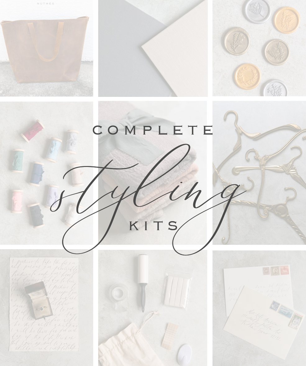 Our complete styling kits include a handmade leather bag, 10 spools of ribbon, antique stamps, a styling board, hanger & more!