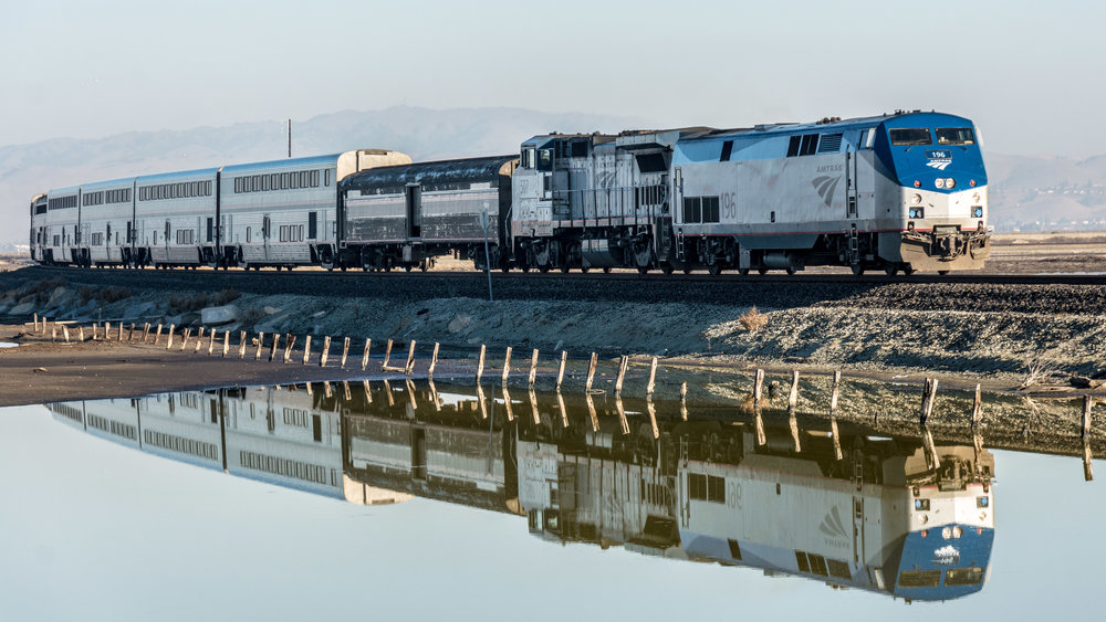 Don DeBold  from San Jose, CA, USA -  Amtrak train passing Alviso Marina