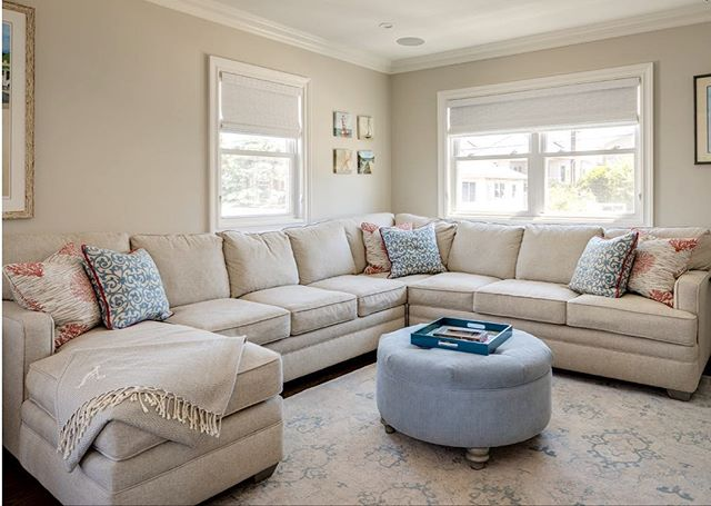 Is it inappropriate for a designer to cuddle up on a client's new sectional? Asking for a friend. #interiordesign #homedecor #sectional #beachhouse #longisland #cozy #ohsocozy