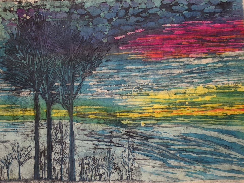 """Sunrise on White Oak Mountain"" (24"" x 32""batik on cotton)"