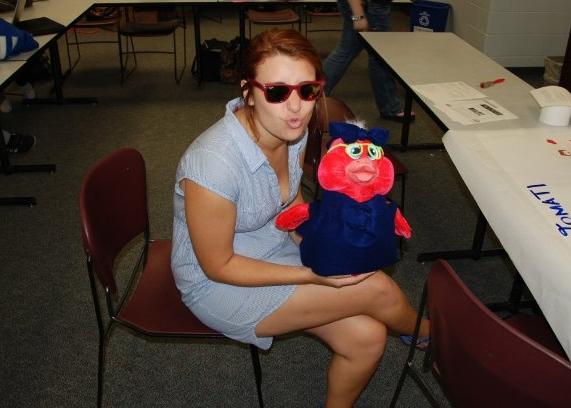 A stuffed animal my high school Spanish dressed up like me - in a mini dress 🙈