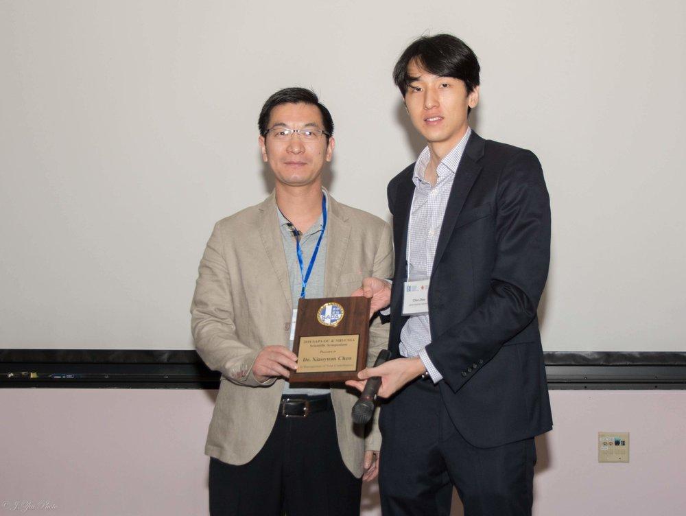 Xiaoyuan Chen教授(左),主持人Chen Zhao(右)