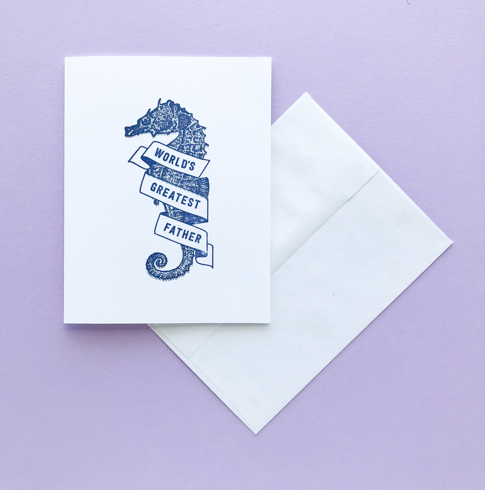 The female of the species may be more deadly than the male... but papa seahorse carries his little critters on his belly for the length of their gestation! This  Triple Threat Press  card isn't just stationery, it's also a biology lesson!