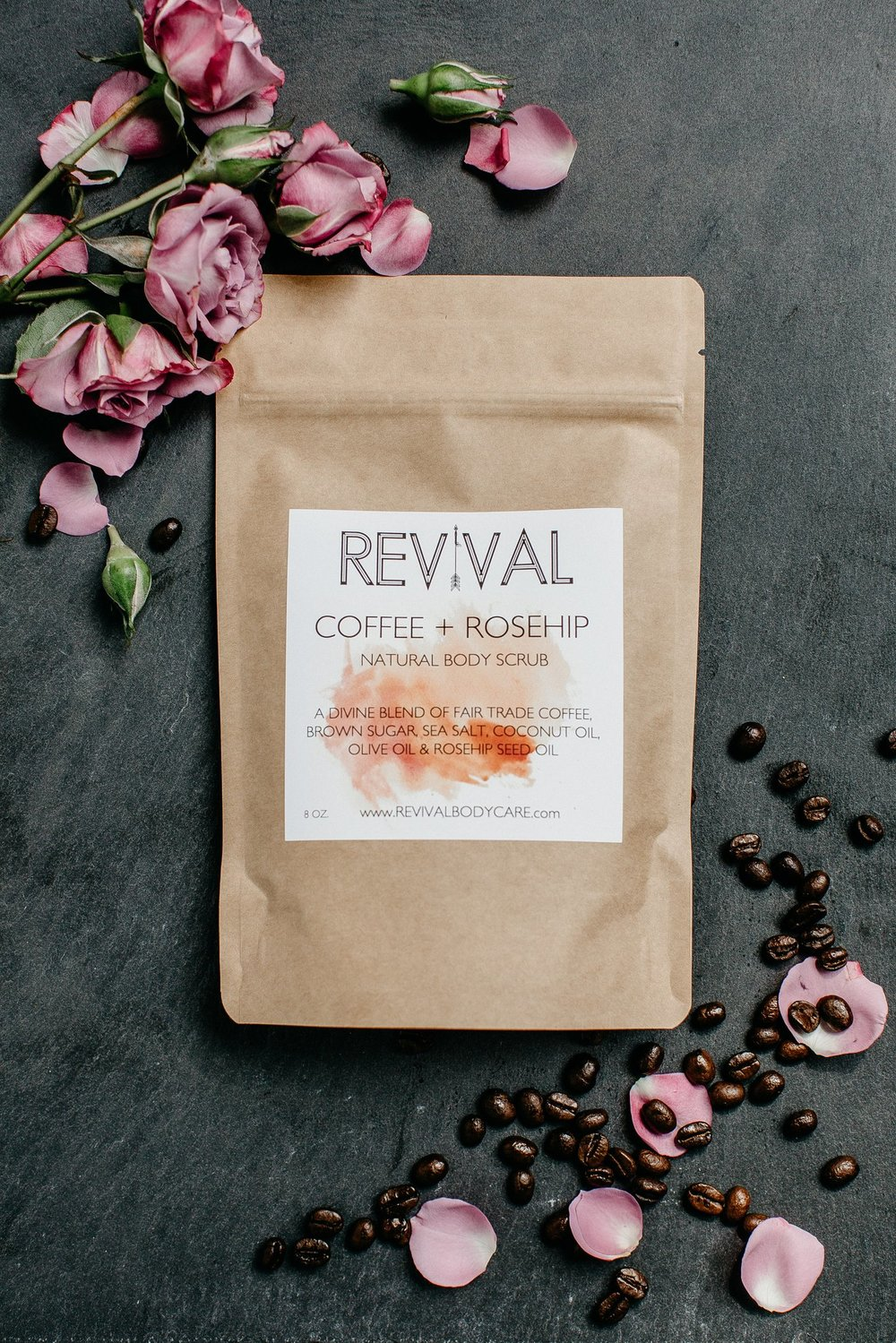 Coffee and rosehip exfoliating scrub by Revival Body Care