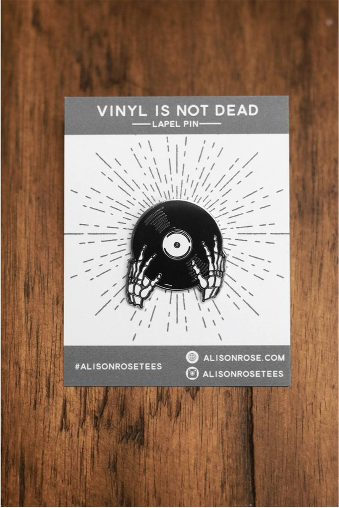 Vinyl is Not Dead lapel pin