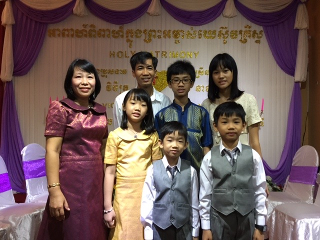 Quenie (ABC123 International School) and Narin Chey (Gospel Commission Fellowship) and family