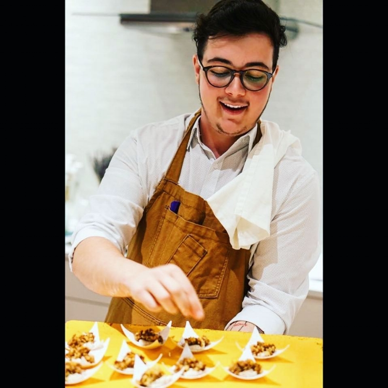 Head Baker Cayden Fielder working his magic on some deconstructed tiramisu. -