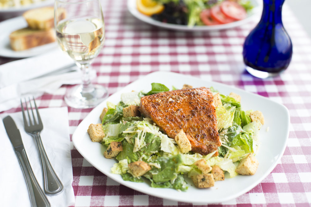 Cajun Salmon with Caesar Salad
