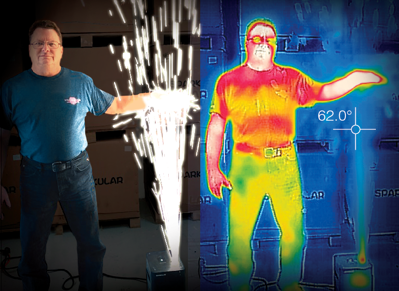 Cold Sparks - THERMOGRAPHICS DO NOT LIE100% safe to use Indoors or Outdoors and perfect for Weddings, Birthdays, Product Reveals, Conferences, Conventions, Fashion Parades and Stage Performances.Sparkular Wins Debut Effect 2016 LDI Show Las Vegas