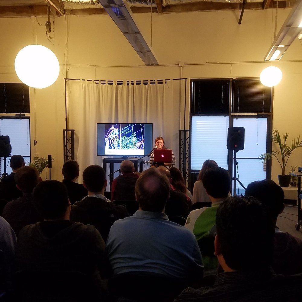 Silicon Valley Virtual Reality MeetUp #51 - Thursday 26th April 2018Sarah shared a presentation on the development of Hatsumi, with a demo available for attendees. Other presenters that night included Infinadeck & Mozilla Mixed Reality. The night was live streamed on High Fidelity. A recording of the talks will be available shortly.