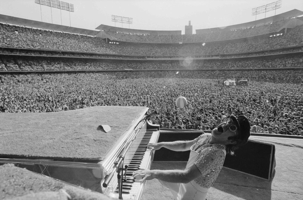 Elton John, Dodgers stadium Los Angeles 1975 by Terry O`Neill  Ed 50,Silver gelatin  Available in several sizes  Price on request