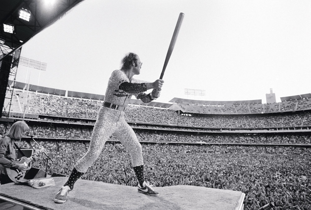 Elton John, Dodger Stadium by Terry O`Neill  Ed 50, Silver gelatin  Available in several sizes  Price on request