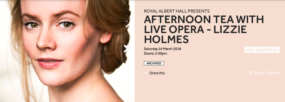 Lizzie Holmes, Royal Albert Hall