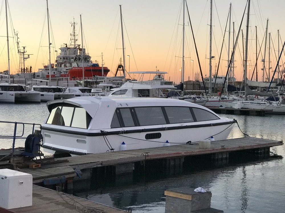High speed transport ferry in Cape Town, South Africa, built by Stealth Yachts.  The joystick control system was installed by Control Engineering in August 2018.