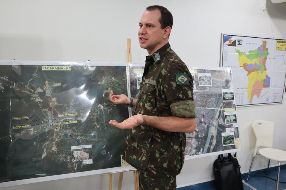 In the Brazilian Army Headquarters in Boa Vista, reviewing map of asylum seeker shelters around Roraima and closer to the Venezuelan border in Pacaraima.