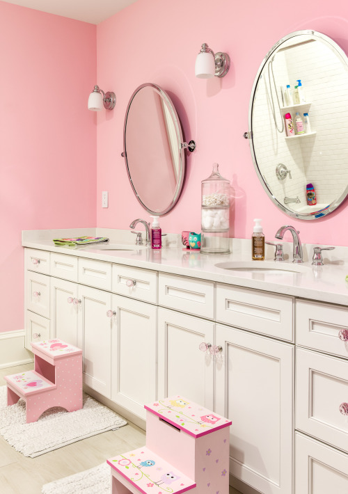 pink girls bathroom double vanity