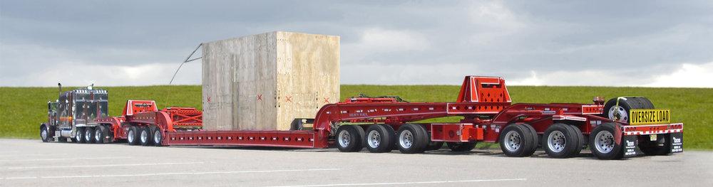 heavy haul red trailer with Izzi truck in NY NJ PA