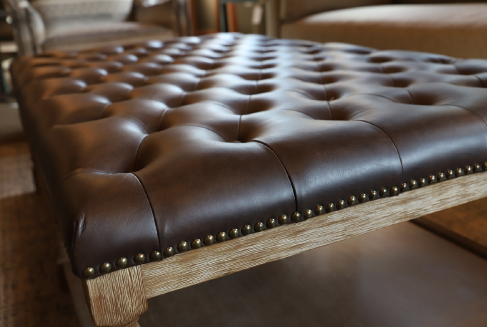 Tufted Leather Weather Oak Ottoman | #7333