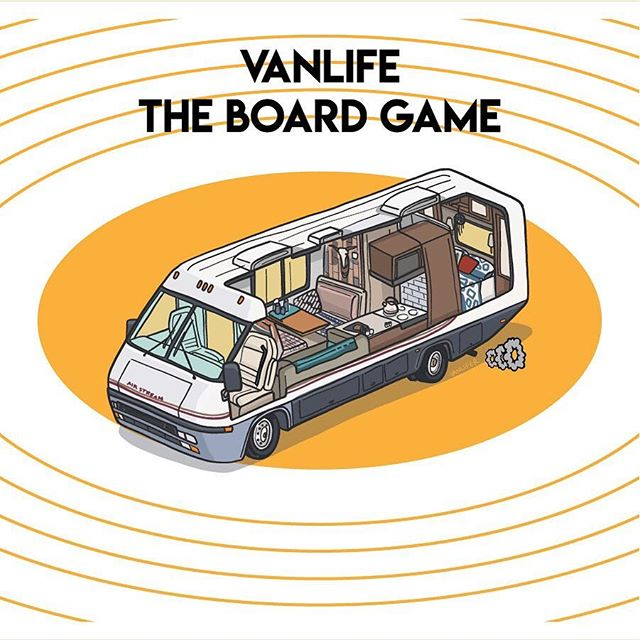 Life rocks when your living room rolls. Image 2 of 3 . . . #rvlife #vanlife #vanlifer #vanlifers #vanlifecamper #projectvanlife #vanlifedistrict #thisisvanlifeing #illustrator #art #rvs #tabletopgames #boardgames #vanlifetheboardgame