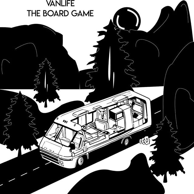 Black and white can sometimes be just right. . . . #rvlife #vanlife #vanlifer #vanlifers #vanlifecamper #projectvanlife #vanlifedistrict #thisisvanlifeing #illustrator #art #rvs #tabletopgames #boardgames #vanlifetheboardgame