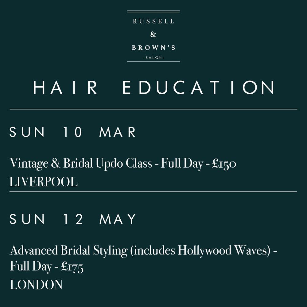 Class Dates - Liverpool Mar 10th & London May 12th - The ideal opportunity to up-skill and learn from our expert stylists. Whether you're a complete beginner or an experienced stylist, our courses are suitable for all. Full class details below.