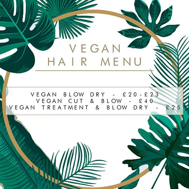 Our all new Vegan Hair Menu • Available as an option for those wanting to choose vegan friendly products with amazing professional salon quality results 🌱 100% Vegan Friendly, Not Tested on Animals, Paraben and Sulphate Free! We will be expanding this menu over the next month or so to also include other styling and salon services • Call 0151 538 2272 to book •