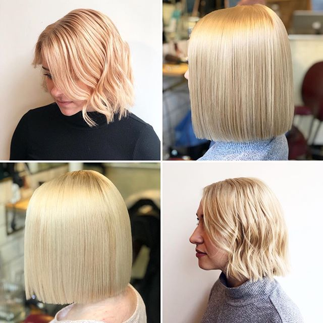 Blonde bobs are always fun to create - keep them sleek or add a beachy wave for that Insta ready finish! • These looks we're all created without bleach • If you're lucky enough to have natural hair that is fairly light you can say bye to bleach but still het that gorgeous head turning blonde you want •