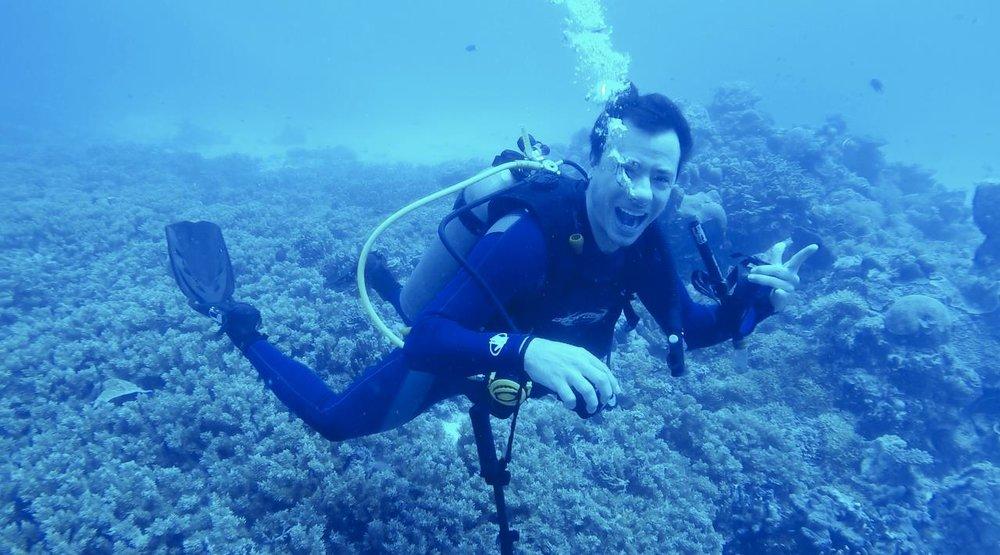 Danilo Alvarez under water somewhere in the World.
