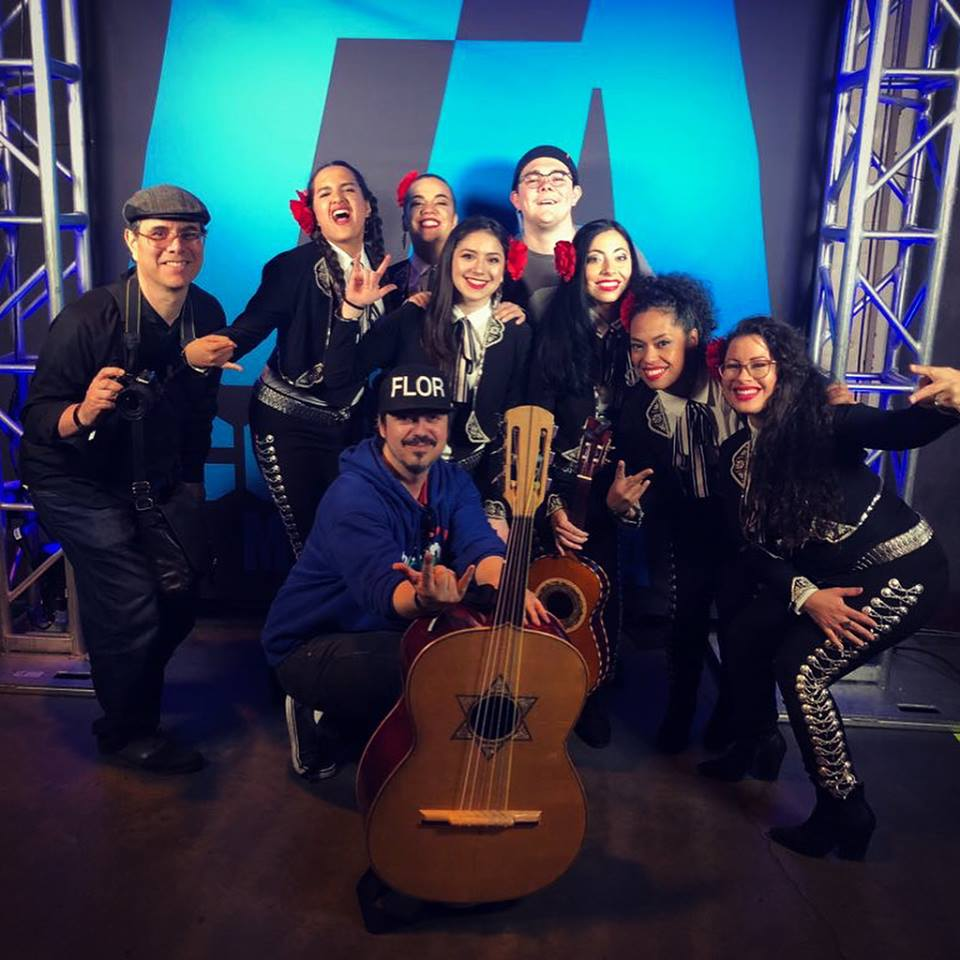 Andy in the center with the girls of Mariachi Flor De Toloache